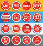 Sale etiketter och klistermärkear royaltyfri illustrationer