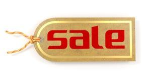 Sale etikettetikett som skrivs ut på ett naturligt papper med den guld- gränsen Arkivfoton