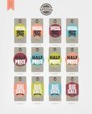 Sale etikettsdesign Stock Illustrationer
