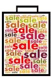 Sale etikettsdesign med ordcollage på vit bakgrund Arkivbilder