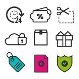 Sale etikettssymbol Online-säkerhetssymbol Närvarande asksymbol Kupongkodtecken 24h öppnar och favorit- symboler vektor illustrationer
