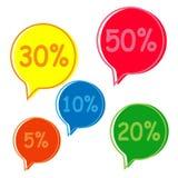 Sale etikettsuppsättning 5, 10, 20,30,50 procent Arkivbild