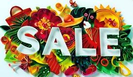 Sale - ett färgrikt baner som informerar om försäljningen och den uppmuntrande shoppingen royaltyfri bild