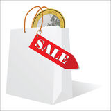 Sale and the euro in the bag vector Royalty Free Stock Photos