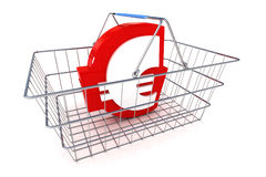 Sale Euro Basket. A Colourful 3d Rendered Sale Euro Basket Concept Illustration Royalty Free Stock Image