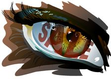 Sale in the eye. A dazed look from sale. Additional format: made in CorelDRAW X13. Color settings: Tools/color management/Optimized for the Web Royalty Free Stock Photos