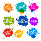 Sale färgstänk bläckar ner symboler Fotografering för Bildbyråer