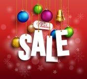 Sale för jul som 3D text hänger för befordran Royaltyfri Foto