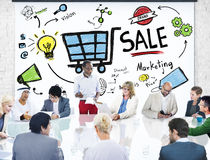 Sale försäljningar som säljer begrepp för betalning för inkomst för finansintäktpengar Arkivbild