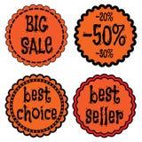 Sale förser med märke, klistermärkear, logoen, stämplar Royaltyfria Foton