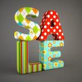 Sale fabric word isolated on grey backround Stock Image