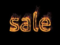 Sale. Fiery letters with smoke. 3d render. Graphic illustration. Fiery lettering `sale` on black background Stock Images