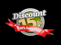 Sale fifteen percent off isolated black, 3d Illustration.  Stock Image