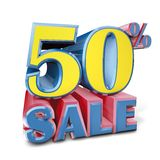 Sale fifty percent. 3D rendering  logo sale fifty percent Royalty Free Stock Photos