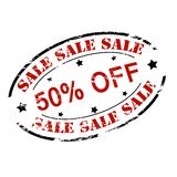 Sale fifty percent off. Rubber stamp with text sale fifty percent off inside,  illustration Royalty Free Stock Photos