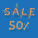 Sale. Fifty percents. Artistic font royalty free stock photos