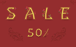Sale. Fifty percents. Graceful font stock images