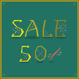 Sale. Fifty percents. Unusual font stock images