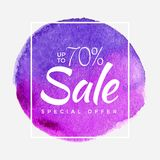 Sale final up to 70 off sign over art brush acrylic stroke paint abstract texture background poster vector illustration. Perfect watercolor design for a shop Stock Photography