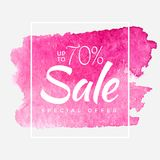 Sale final up to 70 off sign over art brush acrylic stroke paint abstract texture background poster vector illustration. Perfect watercolor design for a shop Royalty Free Stock Image