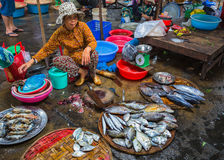 Sale of fish and seafood in market Royalty Free Stock Images