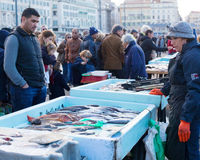 Sale of fish on the waterfront of Marseille Royalty Free Stock Images