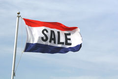 Sale Flag. A red, white and blue sale flag Royalty Free Stock Photos