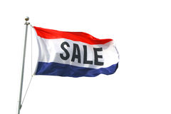 Sale Flag. A red, white and blue sale flag isolated on white Stock Photos