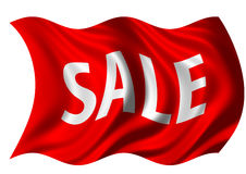 Sale Flag. Red flag depicting sale billowing in the wind Stock Photo