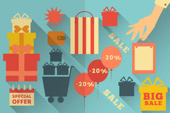 Sale Flat Icons Stock Images