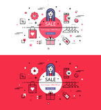 Sale. Flat linear hero images and hero banners design concept Royalty Free Stock Images