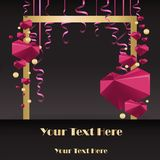 Sale flayer with confetti and square white border on black background vector illustration
