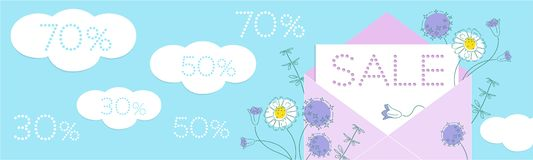 Sale floral banner with flowers and paper cut clouds and discount numbers on blue background. royalty free illustration