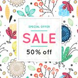 Sale. Floral pattern. Hand drawn flowers. Discount. Shopping. Commerce. Colorful background with blossom. Abstract herb. Springtime. Flyer advertising banner Royalty Free Stock Photos