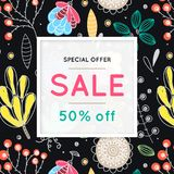 Sale. Floral pattern. Hand drawn flowers. Discount. Shopping. Commerce. Colorful background with blossom. Abstract herb. Springtime. Flyer advertising banner Royalty Free Stock Photo