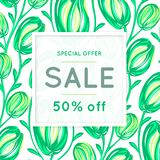 Sale. Floral pattern. Hand drawn flowers. Discount. Shopping. Commerce. Colorful background with blossom. Abstract herb. Springtime. Flyer advertising banner Stock Photos