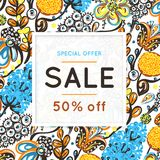 Sale. Floral pattern. Hand drawn flowers. Discount. Shopping. Commerce. Colorful background with blossom. Abstract herb. Springtime. Flyer advertising banner Royalty Free Stock Photography