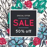 Sale. Floral pattern. Hand drawn flowers. Discount. Shopping. Commerce. Colorful background with blossom. Abstract herb. Springtime. Flyer advertising banner Stock Image