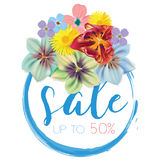 Sale with flowers background vector illustration template. Banner, flyer, invitation, posters, brochure, voucher Stock Photos