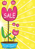 Sale Flowers_eps. Illustration of flowers for sale page with yellow background Stock Photos