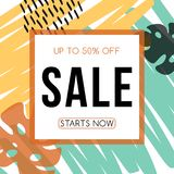 Sale flyer. Advertising banner template design. Hand drawn abstract texture. Vector background Stock Illustration