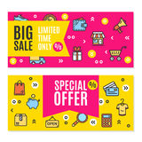 Sale Flyer Banner Posters Card Set. Vector Royalty Free Stock Photography