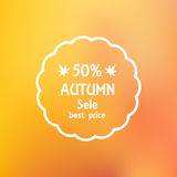 Sale flyer a discount on autumn blurred background  Stock Image