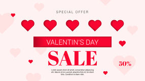 Sale flyer with hearts on Valentine's Day . Vector illustration. Royalty Free Stock Image