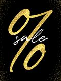 Sale flyer template. Vector golden percent sign and white Sale word on black background with golden glitter. Sale flyer template. Vector golden percent sign and royalty free illustration