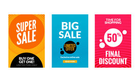 Sale flyers set with discount offer. Season best price poster template. Market banners shopping big discounts Royalty Free Stock Photos