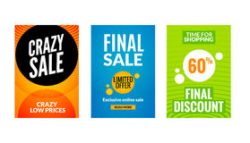 Sale flyers set with discount offer. Season best price poster template. Market banners shopping big discounts Royalty Free Stock Image