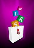 Sale shopping bag. An illustration of a shopping bag with the word SALE falling into it royalty free illustration