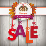 Sale Foliage Thanksgiving Emblem Turkey Wood Stock Photos