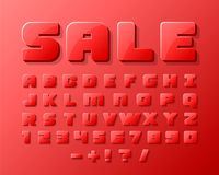Sale font 3d on the red background. Vector illustration Royalty Free Stock Photography